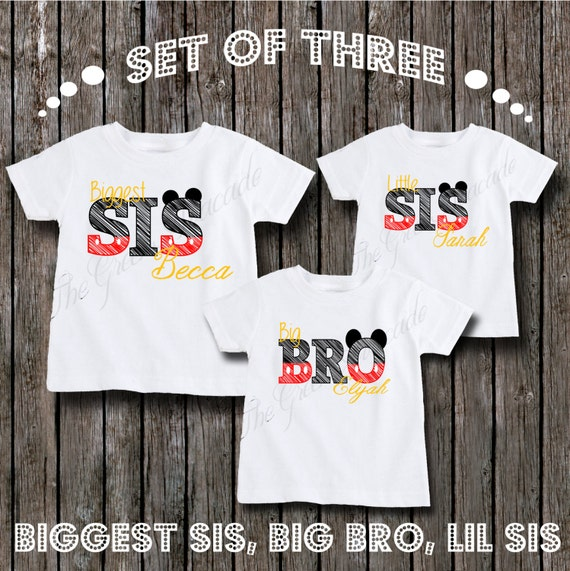 Matching Sibling Mickey Mouse Themed Disney Shirts - Personalized Biggest Sister, Big Brother, and little Sister Shirts - Sibling Outfits