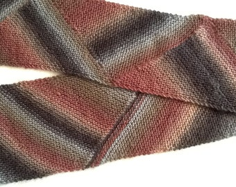 Hand knit Chevron Pattern Scarf in Earth Tones . Ready to Ship