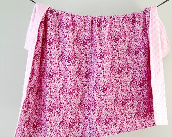 Large Baby/Toddler Blanket, Pink Speckles with Pink Minky Dot, Ready to Ship