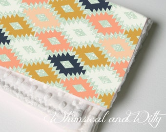 Tribal Baby Blanket - Coral, Mint, Navy - Toddler Blanket - Minky Backed
