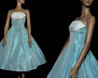 Vintage 1950s Dress Blue Taffetta Full Circle Dress Rockabilly Garden Party Mad Men Couture Pinup Bombshell Swing Jive Designer