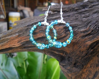 Bright Blue Glass Bead Earrings