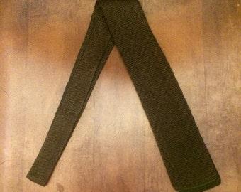 Vintage Green Crunchy Knit Necktie by Fashionknit 1026