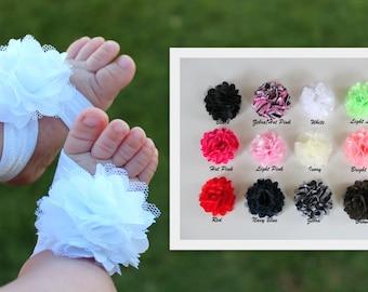 Satin Flower Barefoot Sandals & Headband Option - Baby Barefoot Sandals Headband Set - Baby Shoes, Baby Headband, Newborn Girl