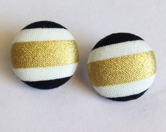 Small Black and Gold Stripe Print Fabric Button Earrings