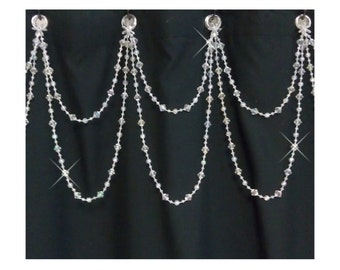 Mother's day sale: Beaded Shower Curtain Bling...Double Swag......Bright Crystal Resin