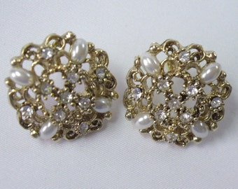 Vintage Gold Filigree Rhinestone and Pearly Cabochon Round Pierced Earrings