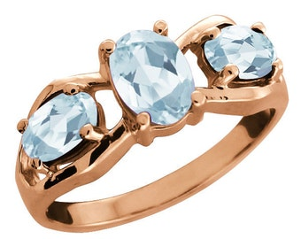 14Kt Rose Gold Plated Aquamarine Oval Ring