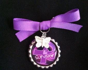 Cancer Awareness Purple Bottlecap Brooch