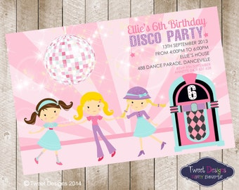 DISCO PARTY INVITATION, Disco Party Girls Personalised Printable Birthday Invitation, Girl Disco Party, Cute Disco Girls Party Invitation