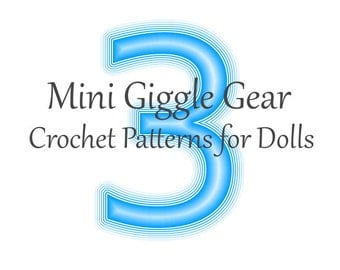 Pick Any 3 Doll PDF Crochet Patterns by Mini Giggle Gear - Pack - Sale
