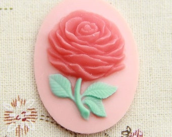 6 pcs of pink rose cameo 30x40mm -0307-redw/green leave on peach