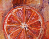 "SALE! Original Painting of a Blood Orange in Acrylic, Medium Sized Wall Art, 15"" x 20"", Orange and Red Art, Original Wall Art"