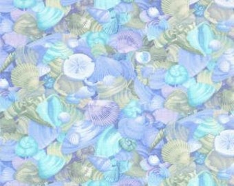 Coastal Breeze, Shell Collection, Sky Blue by Paul Brent for Moda