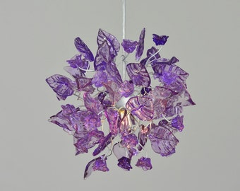 Purple leaves and flowers pendant light  for hall, bathroom, bedroom or children space a unique lighting