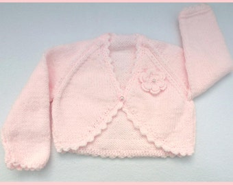 Baby girl hand knitted pale pink baby bolero cardigan to fit 3 to 6 months