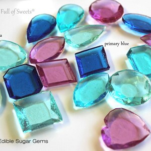 40 FROZEN Party LARGE Edible Sugar Jewels Gems Barley Sugar Hard Candy Cupcake Cake Decor Favors Ready to Ship