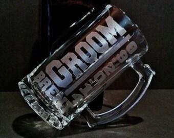 2 Groom Beer Mug Set - 2 Personalized Groom Mugs - Groom Beer Mugs - Sandblasted Mugs - 16 Ounce Beer Mugs - Engraved Mugs