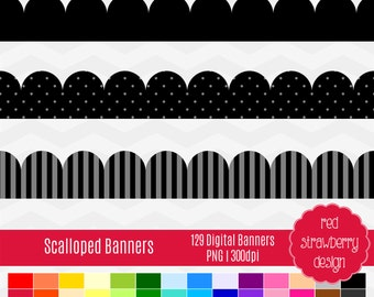 75% OFF Sale - Scalloped Banners -  129 Digital Clip Art - Instant Download - PNG (CA142)