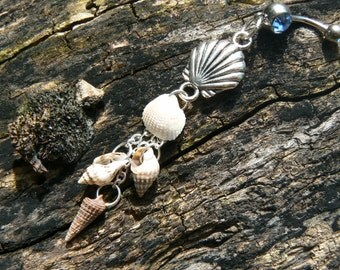seashell belly ring seashells clamshell charm shells springbreak summer in boho gypsy hippie belly dancer  beach hipster and fantasy style