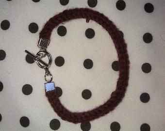 Hand Knit Burgundy I-Cord Bracelet