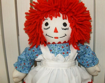 Traditional  Mini Personalized Raggedy Ann Doll 15 inches tall Handmade in USA
