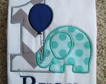 Personalized Elephant Birthday Shirt. 1st Birthday, 2nd Birthday, 3rd Birthday, 4th Birthday, 5th Birthday.