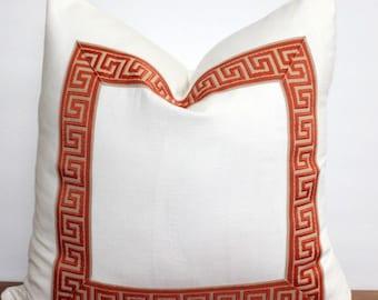 Pillow Cover - Pillow - Orange - Tan and Orange Greek key  - Flat Trim - Mitered Corners