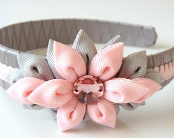 Kanzashi Fabric Flower headband, pink and grey. Grey flower headband. Pink flower headband.