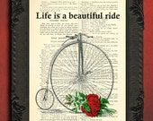 Life is a beautiful ride print bike and flowers print inspirational motivation quote bicycle print