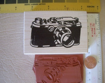 35 MM vintage camera  rubber stamp Wood mounted 2 3/4th inches wide by 1 3/4th tall  scrapbooking rubber stamping