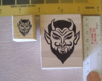 2 sizes Devil, Satan Evil, horns  rubber stamps Wood mounted 1 3/4th inches & 1/2 inches rubber stamping