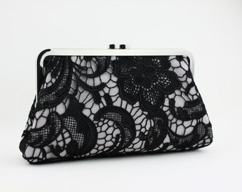 Black Lace Bridal Clutch / Wedding Purse / Bridal Purse / Bridesmaid Purse Clutch