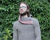 Handmade gray natural wool sweater
