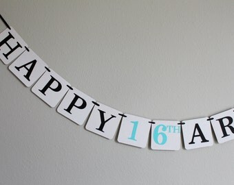 custom birthday banner - birthday decorations - Happy Birthday banner - Happy 16th Birthday banner