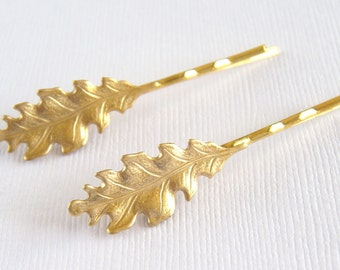 Leaf Hair Pins, Brass Leaf Hair Pins, Fall Wedding Hair Pins, Country Wedding, Brides hair accessories, Wedding Jewelry - Oak Leaf Hair Pins