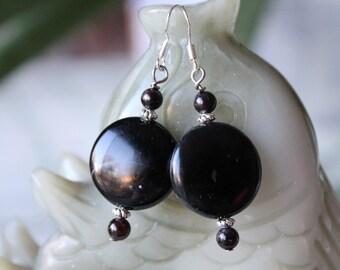 Black Coin Onyx Earrings, sterling silver hook