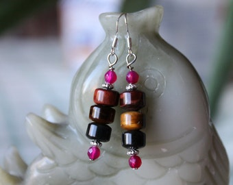 Three Color Tiger Eye Earrings, sterling silver hook