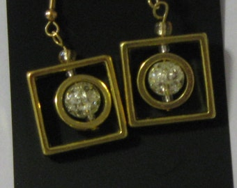 Up-Town Earrings with Clear Sparkle Bead and Gold Plate Wires