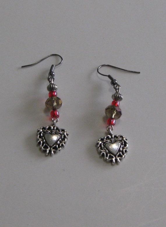 silvertone beaded wire earrings by moonwolfstudios