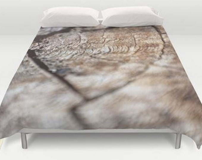Brown Queen Duvet Cover - Bed Cover - Duvet Cover Only - Bed Spread - Rustic Wood Photo - Ready to Ship