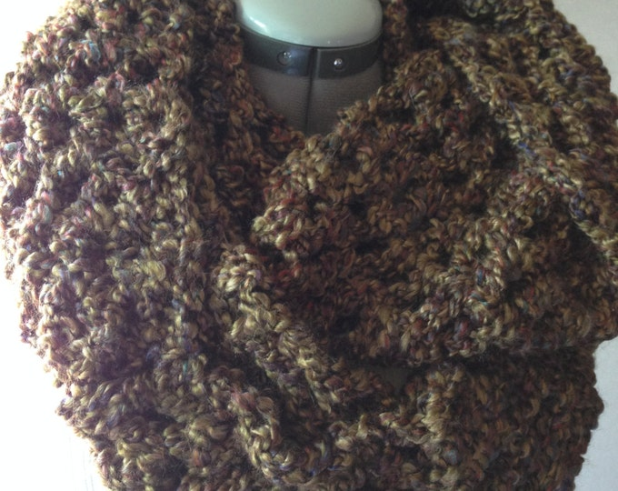 Scarf - Infinity - Thick - Chunky and Soft - Medium Cool Browns and Olive Green - Handmade Crochet - Ready to Ship