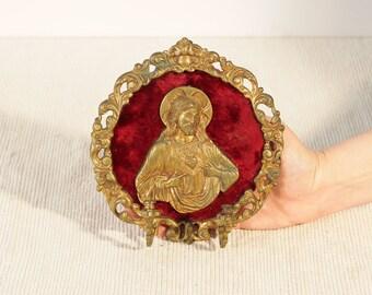 Unique Vintage Gold Framed Catholic Jesus Christ Pendant