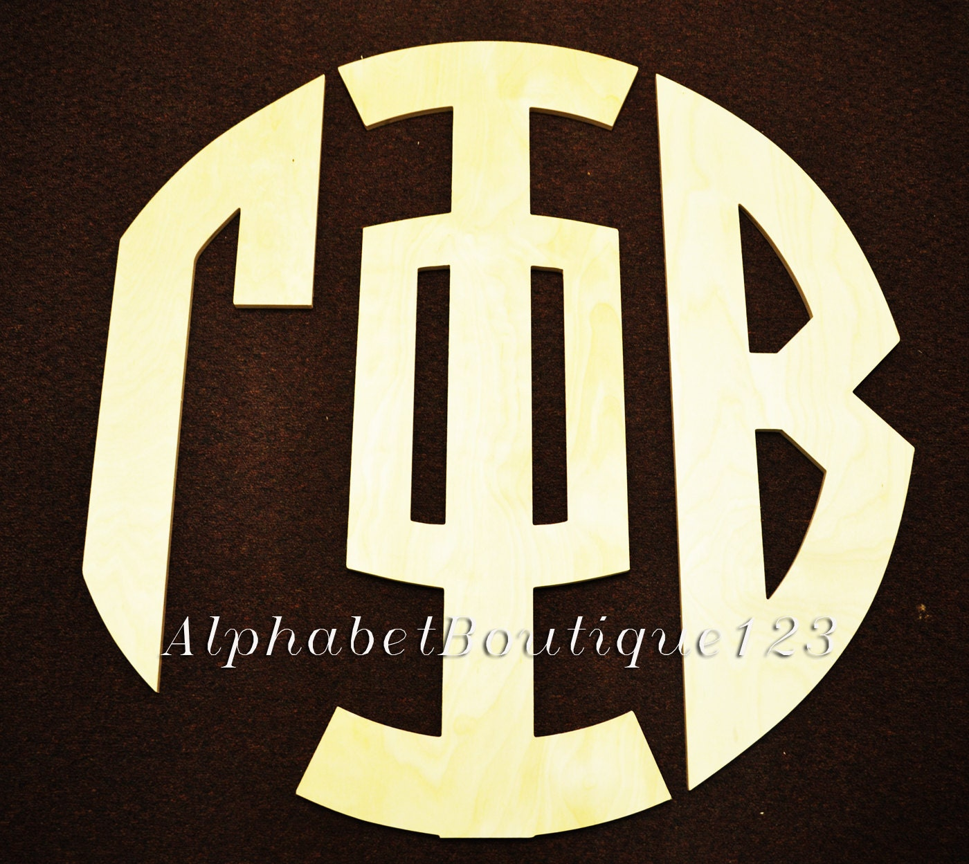 24 INCH GREEK Unconnected Circular Cut Monogram Unfinished