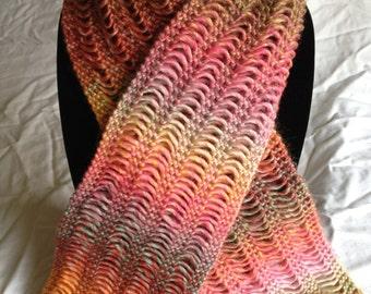 multi-colored drop stitch scarf