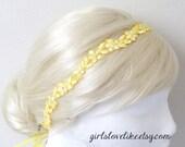 Yellow Skinny Lace Head Tie, Headband, Yellow Lace Sash Belt, Bridal Sash, Bridesmaid Sash, Skinny Lace Sash