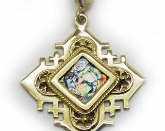 Unique 14K Yellow Gold Cross, Ancient Roman Glass Pendant, Rhombus Gold Pendant, Roman Glass Jewelry