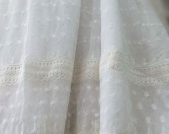 off white Lace fabric, Embroidered tulle lace fabric, vintage lace fabric, antique bridal lace