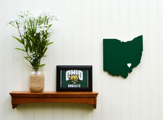 """Ohio University Bobcats """"State Heart"""" wall art, handcrafted wood with official team colors"""