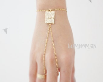 Rectangle Stamped Pressed Fish, Tiny CZ, Hand Chain Finger Slave Bracelet, Gladiators Bracelet